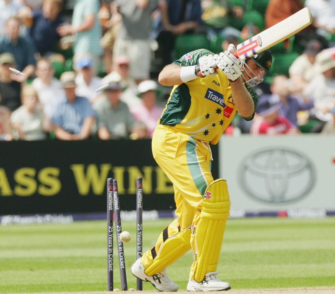 Matthew Hayden of Australia is bowled by Nazmul Hossain of Bangladesh during the NatWest Series One Day International between Australia and Bangladesh played at Sophia Gardens on June 18, 2005 in Cardiff, United Kingdom  (Photo by Hamish Blair/Getty Images)