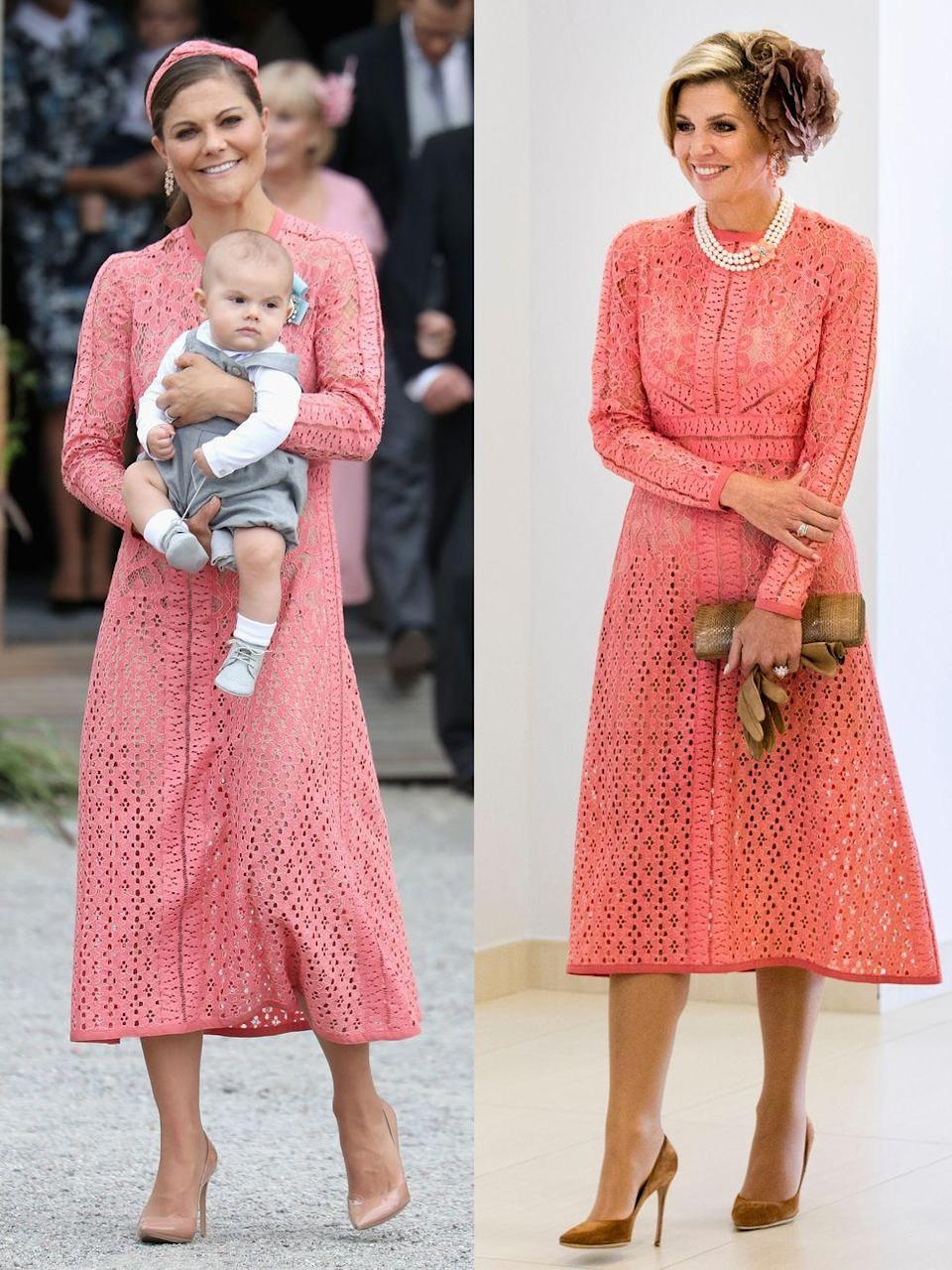 <p><strong>Left: </strong>Crown Princess Victoria of Sweden attended the christening of Prince Alexander on September 9, 2016 in Stockholm in a peachy-pink Ellie Saab dress.</p><p><strong>Right: </strong>Queen Maxima of the Netherlands visited the Champalimaud Centre in Portugal on October 11, 2017, wearing the same lace number.</p>