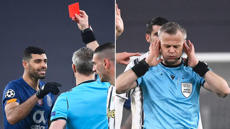 Seen here, Porto's Medhi Tarremi is given his marching orders against Juventus.