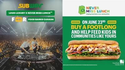 Subway® Canada is hosting its first-ever virtual concert with Canadian Diamond/Multi-Platinum selling and JUNO Award winning dance music duo Loud Luxury on June 23rd to raise awareness for the issue of child hunger experienced throughout the summer months. (CNW Group/SUBWAY Canada)