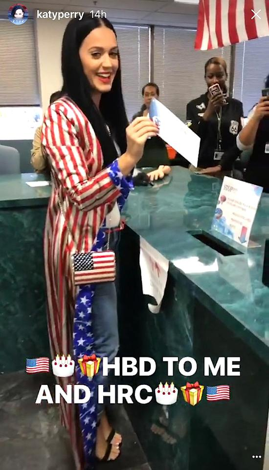 Katy Perry has a serious passion for the land of the free, as she demonstrated by dressing up like Uncle Sam to drop off her ballot.