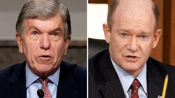 PHOTO: Sen. Roy Blunt speaks at a committee hearing in Washington, Sept. 16, 2020, and Sen. Chris Coons questions Judge Amy Coney Barrett during her confirmation hearing in Washington, Oct. 13, 2020. (Getty Images)