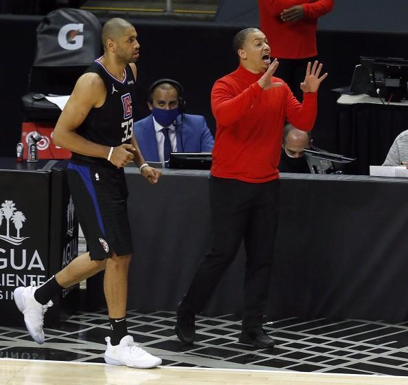 LOS ANGELES, CA - MAY 25: LA Clippers head coach Tyronn Lue shown with LA Clippers forward Nicolas Batum (33) in a game against the Dallas Mavericks in the first period at the Staples Center on Tuesday, May 25, 2021 in Los Angeles, CA. Game two of the NBA Western Conference first-round playoff series. (Gary Coronado / Los Angeles Times)