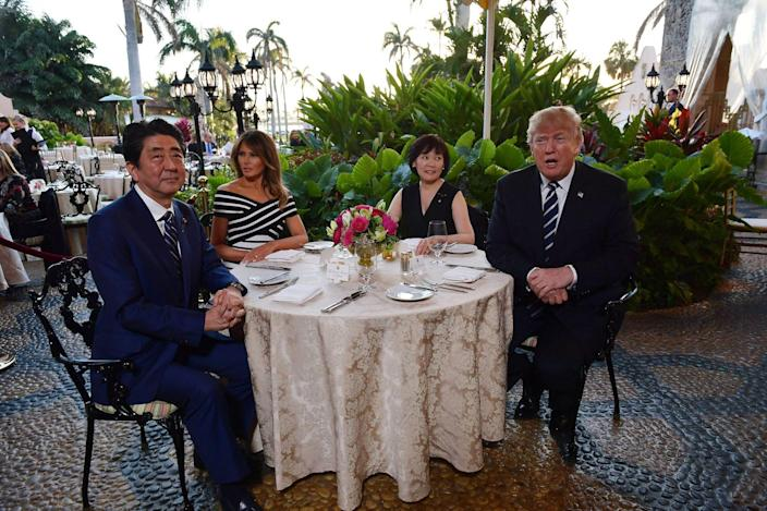 Mar-a-Lago resort melania donald trump Shinzo Abe Akie Abe