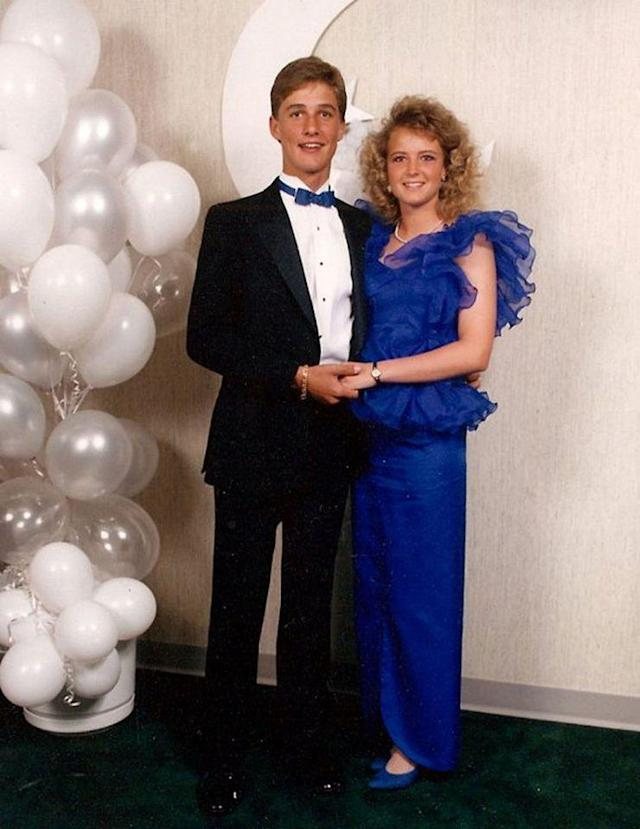 <p>Even in 1987 — when the totally awesome hair and clothing styles were often questionable — Matthew McConaughey was a hunk! That's what people called handsome guys back then, right? The future Oscar winner, who was then 18, looked dapper in a tux and a bow tie that matched the royal blue of his date's dress. That lucky lady is Lori Klinger, McConaughey's sweetheart in high school in Longview, Texas. (Photo: Splash News) </p>