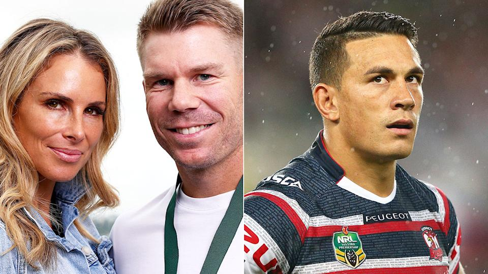Pictured here, Candice and David Warner on the left, with Sonny Bill Williams on the right.