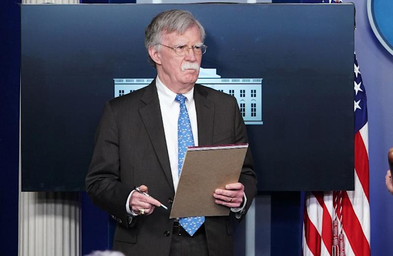 National Security Advisor John Bolton takes part in a briefing at the White House