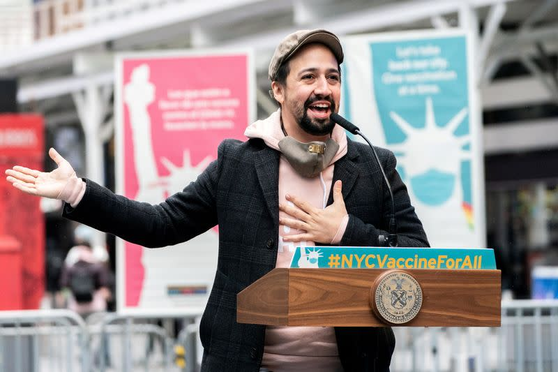 FILE PHOTO: Opening of Broadway vaccination site, in New York City