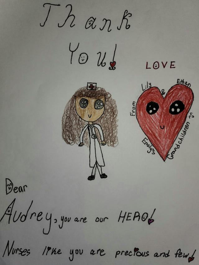 "Wagner's children drew a thank you card for the ""hero"" nurse, Audrey. (Photo courtesy of Will Wagner)"