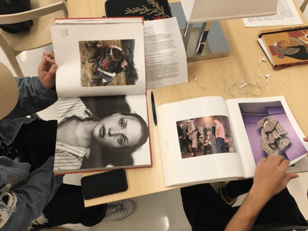 Students conducting a visual analysis exercise for the course 'Fashion and Race' at Parsons School of Design, 2016