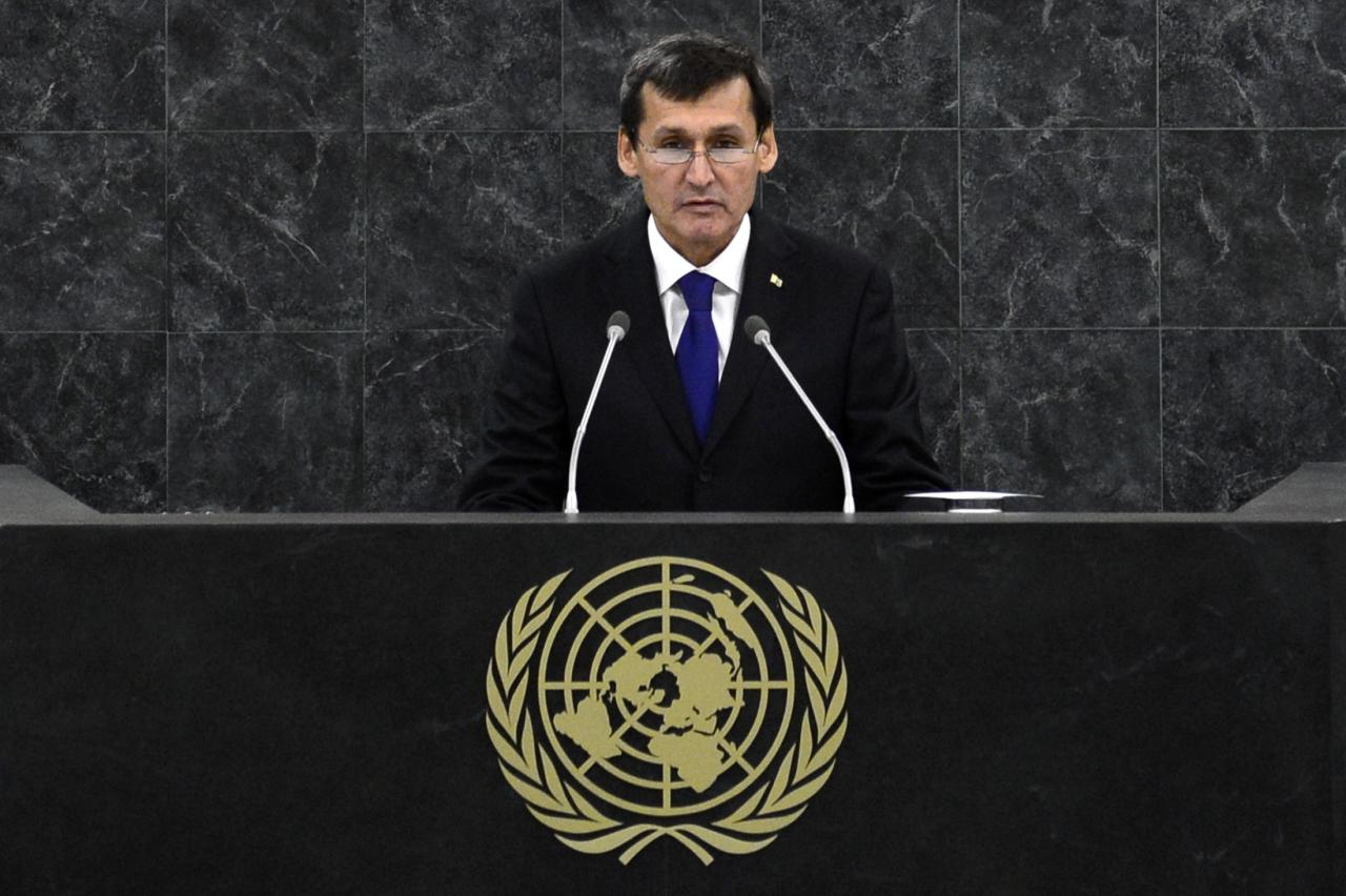 Sapardurdu Toyliyev, deputy prime minister of Turkmenistan, addresses the 68th session of the United Nations General Assembly in New York September 30, 2013. REUTERS/Adrees Latif (UNITED STATES- Tags: POLITICS)