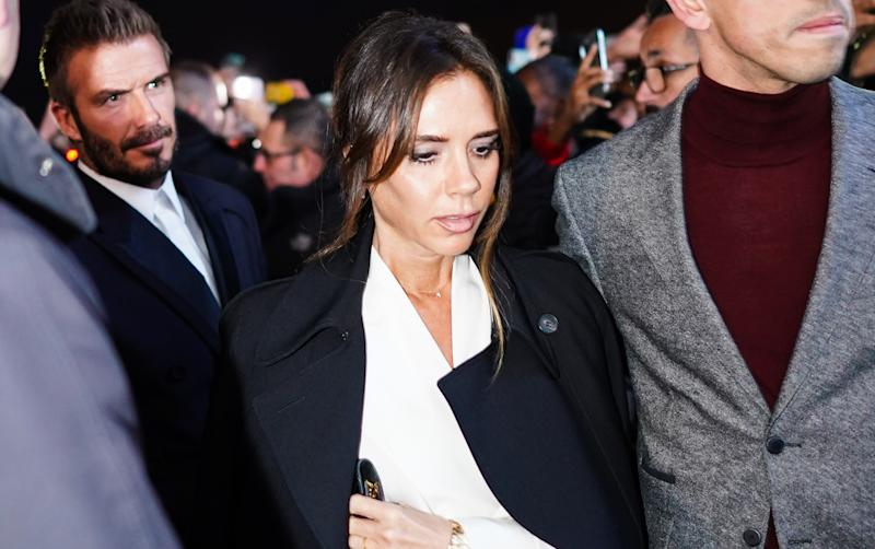 PARIS, FRANCE - JANUARY 17: Victoria Beckham attends the Dior show, during Paris Fashion Week - Menswear F/W 2020-2021, on January 17, 2020 in Paris, France. (Photo by Edward Berthelot/Getty Images)