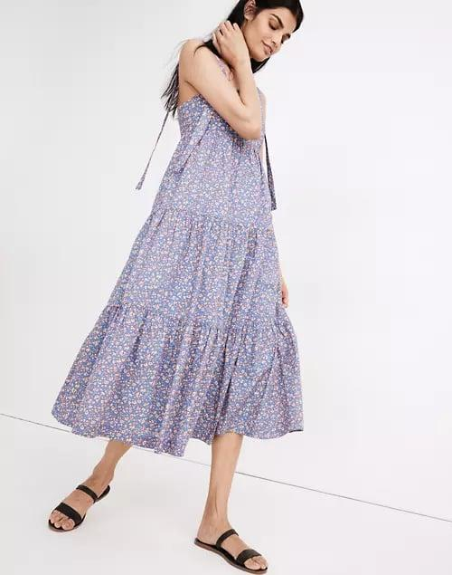 <p>This <span>Madewell Tie-Strap Tiered Midi Dress</span> ($100, originally $128) is the most effortless thing you'll put on.</p>