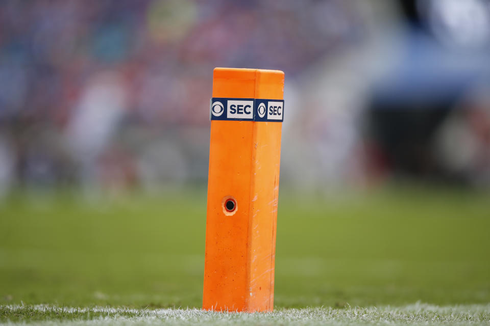 JACKSONVILLE, FL - OCTOBER 27: A end zone pylon with the CBS and SEC logos during the game between the Florida Gators and the Georgia Bulldogs on October 27, 2018 at TIAA Bank Field in Jacksonville, Fl. (Photo by David Rosenblum/Icon Sportswire via Getty Images)