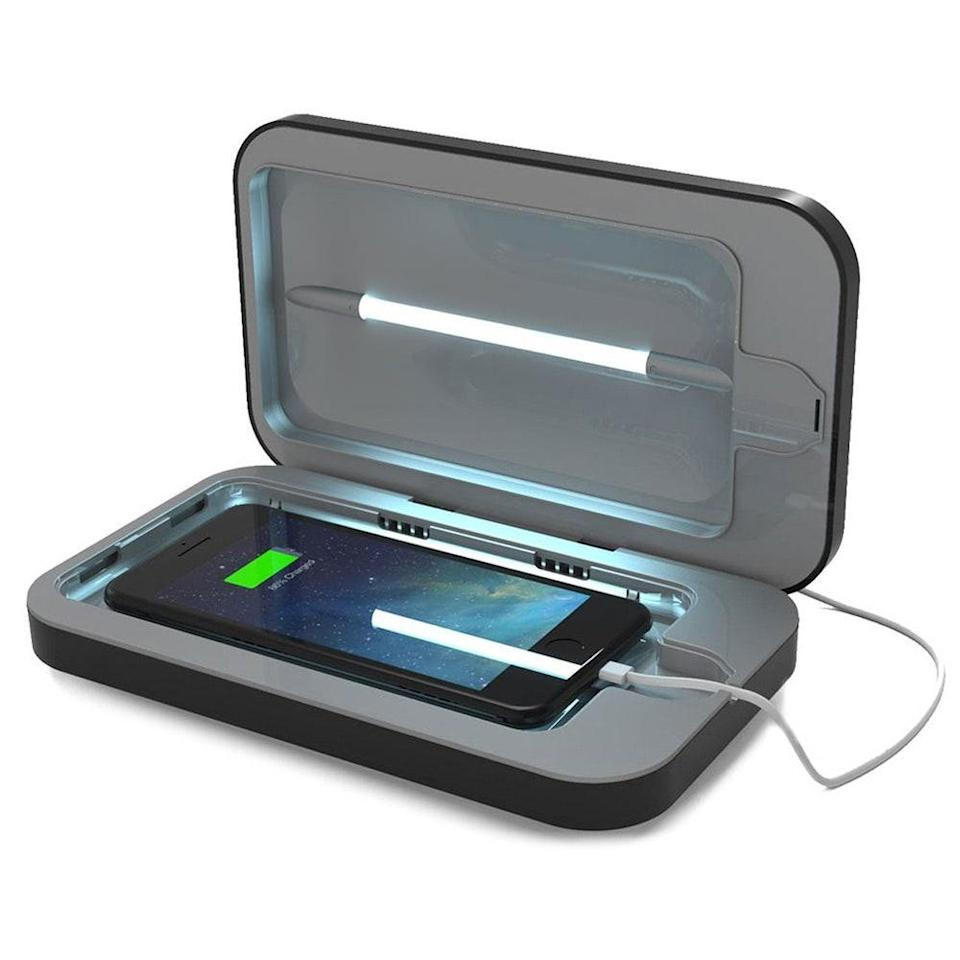 """<p>We fully acknowledge that there needs to be more conclusive data on the topic of smartphone-sanitizing devices, but it's promising that studies have shown that """"UVC-based sanitization methods are effective in <a href=""""https://www.ncbi.nlm.nih.gov/pmc/articles/PMC5875094/"""" rel=""""nofollow noopener"""" target=""""_blank"""" data-ylk=""""slk:reducing bacterial burden"""" class=""""link rapid-noclick-resp"""">reducing bacterial burden</a>."""" With that, we present the Phonesoap 3 UV Smartphone Sanitizer, which claims to kill up to 99.99 percent of bacteria after five minutes.</p> <p>For what it's worth, it gives <em>Allure's</em> senior commerce writer Sarah Han a little peace of mind during these cautious times and she likes that it's big enough to sanitize keys, AirPods, and other little trinkets as well. <br> <br> <strong>$80</strong> (<a href=""""https://www.amazon.com/PhoneSoap-Sanitizer-Universal-Charger-Periwinkle/dp/B07G8Q8L1R"""" rel=""""nofollow noopener"""" target=""""_blank"""" data-ylk=""""slk:Shop Now"""" class=""""link rapid-noclick-resp"""">Shop Now</a>)</p>"""