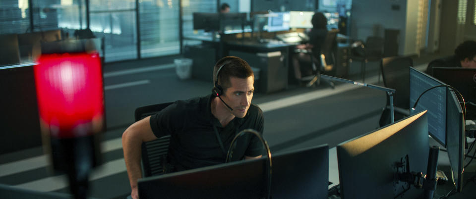 """This image released by Netflix shows Jake Gyllenhaal in a scene from """"The Guilty."""" (Netflix via AP)"""