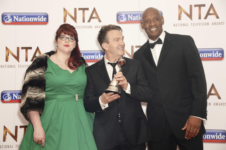LONDON, ENGLAND - JANUARY 20: (L-R) Jenny Ryan, Bradley Walsh and Shaun Wallace of The Chase, with the award for Daytime, during the 21st National Television Awards at The O2 Arena on January 20, 2016 in London, England. (Photo by Dave J Hogan/Dave J Hogan/Getty Images)