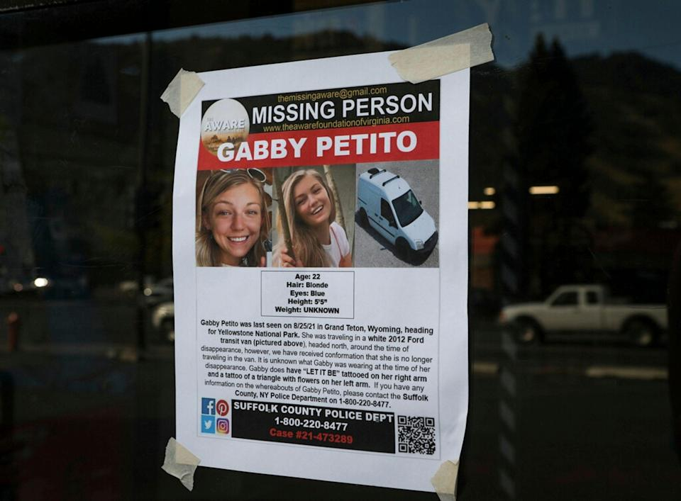 The Suffolk County Police Department distributed missing person flyers for Gabby Petito in Jackson, Wyo. Petito, 22, vanished while on a cross-country trip in a converted camper van with her boyfriend.