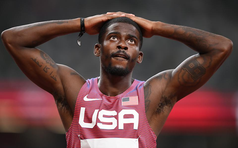 Trayvon Bromell and the United States men's track athletes have had a disappointing Olympics in terms of gold medals. (Photo by Matthias Hangst/Getty Images)