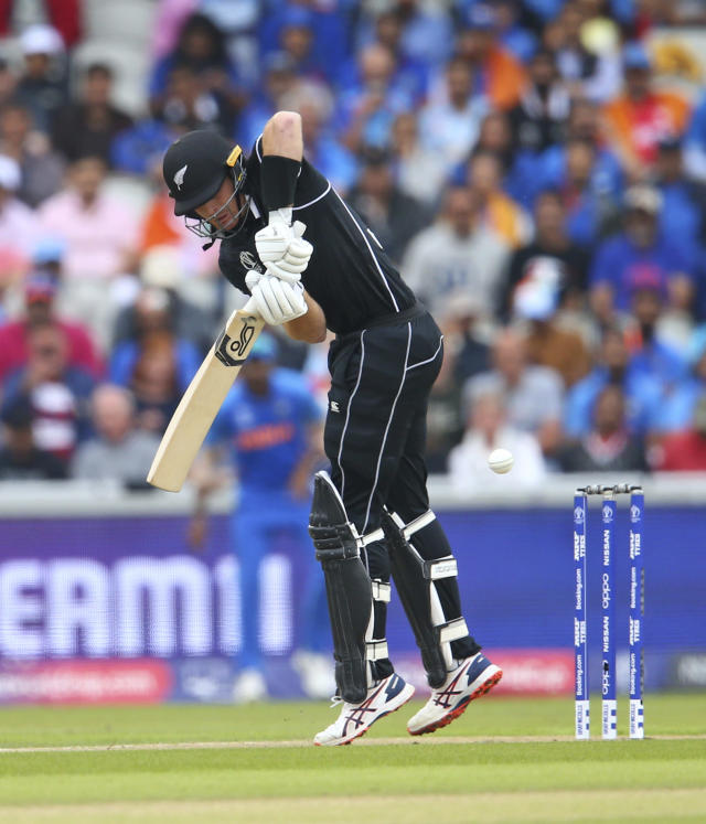 New Zealand's Martin Guptill bats during the Cricket World Cup semi-final match between India and New Zealand at Old Trafford in Manchester, England, Tuesday, July 9, 2019. (AP Photo/Dave Thompson)