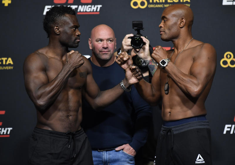 LAS VEGAS, NEVADA - OCTOBER 30: In this handout image provided by UFC, (L-R) Opponents Uriah Hall of Jamaica and Anderson Silva of Brazil face off during the UFC Fight Night weigh-in at UFC APEX on October 30, 2020 in Las Vegas, Nevada. (Photo by Jeff Bottari/Zuffa LLC via Getty Images)