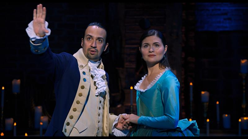 Lin-Manuel Miranda is Alexander Hamilton and Phillipa Soo is Eliza Hamilton in HAMILTON, the filmed version of the original Broadway production. (Disney+)