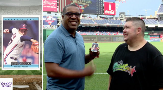 "Eduardo Perez opens 1992 Donruss and 1994 Topps Stadium Club on this episode of ""Old Baseball Cards."" (Yahoo Sports)"