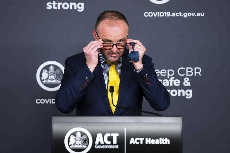 ACT Chief Minister Andrew Barr speaks during a press conference in Canberra.