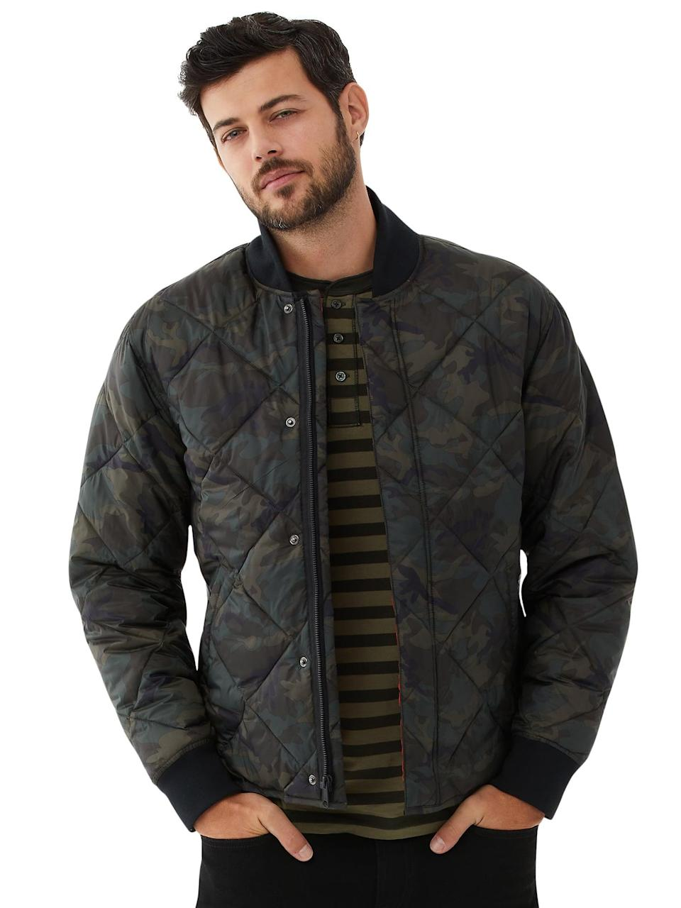 <p>The <span>Free Assembly Men's Camo-Print Bomber Jacket</span> ($45) will pair well with just about any wardrobe basics. That said, it's a safe - and stylish! - gifting option for guys.</p>