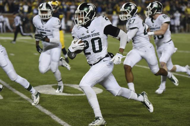 Michigan State defensive back Jalen Watts-Jackson is most known for returning a fumbled punt for a touchdown as time expired against Michigan in 2015. (Melanie Maxwell/The Ann Arbor News via AP)