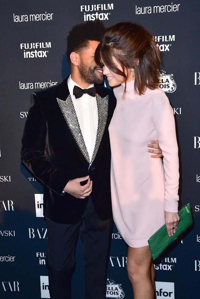 <p>The Weeknd and Selena Gomez at the <em>Harper's Bazaar</em> Icons party. (Photo by Sean Zanni/Patrick McMullan via Getty Images) </p>