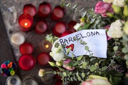 An impromptu memorial for the victims of the Barcelona attack is seen at Blanquerna Cultural Centre in Madrid, Spain, August 21, 2017. REUTERS/Juan Medina