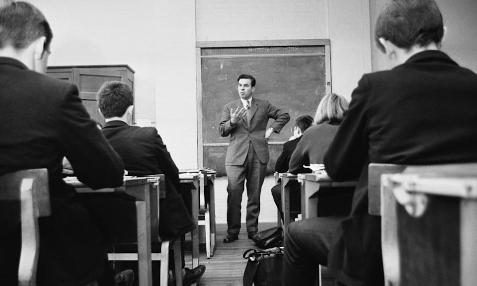 Stan Newens teaching history at Edith Cavell school in Hackney, London, in late 1964. Although he had just been elected as an MP, he continued to teach part-time to help his pupils through their exams.