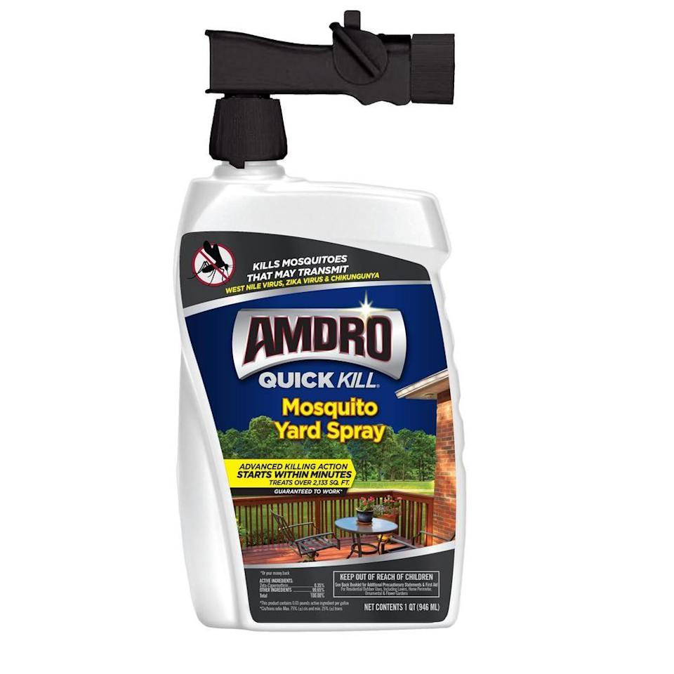 """<p><strong>AMDRO</strong></p><p>lowes.com</p><p><strong>$11.48</strong></p><p><a href=""""https://go.redirectingat.com?id=74968X1596630&url=https%3A%2F%2Fwww.lowes.com%2Fpd%2FAMDRO-Quick-Kill-Mosquito-Yard-Spray-32-fl-oz-Mosquito-Killer%2F1000347905&sref=https%3A%2F%2Fwww.goodhousekeeping.com%2Fhome-products%2Fg32464505%2Fbest-mosquito-repellents-bug-sprays%2F"""" rel=""""nofollow noopener"""" target=""""_blank"""" data-ylk=""""slk:Shop Now"""" class=""""link rapid-noclick-resp"""">Shop Now</a></p><p>Connect this concentrate to your outdoor house to effectively get the job done. Unlike other preventative measures, it's a contact killer, which means it gets rid of mosquitos (not ticks, flies or other bugs) instantly — if they're present, of course. </p>"""