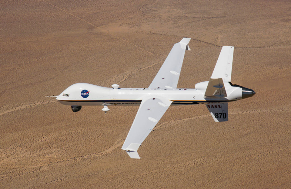 """<p>Unmanned and unarmed, the Predator can fly for hours, spying from above with a complex array of cameras and sensors. Later versions of the UAV moved from reconnaissance duties to the role of a potent hunter. <a href=""""https://www.ga-asi.com/remotely-piloted-aircraft/mq-9a"""" rel=""""nofollow noopener"""" target=""""_blank"""" data-ylk=""""slk:Reapers had bigger engines"""" class=""""link rapid-noclick-resp"""">Reapers had bigger engines</a>, which allowed the aircraft to carry bombs or missiles into hostile territory.</p>"""