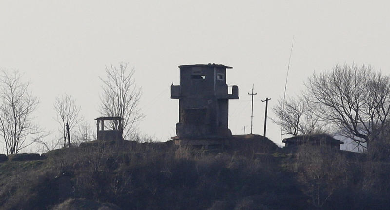 A North Korean military guard post is seen near the border village of Panmunjom, which has separated the two Koreas since the Korean War, in Paju, north of Seoul, South Korea, Sunday, April 7, 2013. A top South Korean national security official said Sunday that North Korea may be setting the stage for a missile test or another provocative act with its warning that it soon will be unable to guarantee diplomats' safety in Pyongyang. But he added that the North's clearest objective is to extract concessions from Washington and Seoul. (AP Photo/Lee Jin-man)