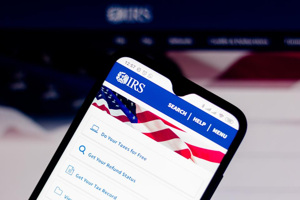 The Internal Revenue Service (IRS) website seen displayed on a smartphone. (Photo Illustration by Rafael Henrique/SOPA Images/LightRocket via Getty Images)