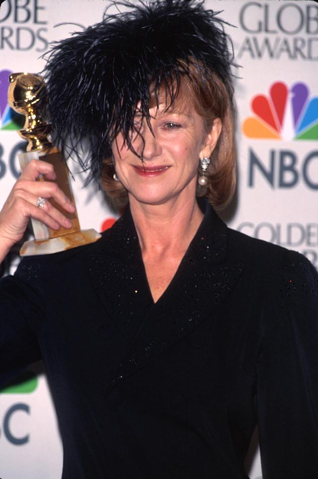Helen Mirren attending the 1997 Golden Globes. (Photo: Getty Images)