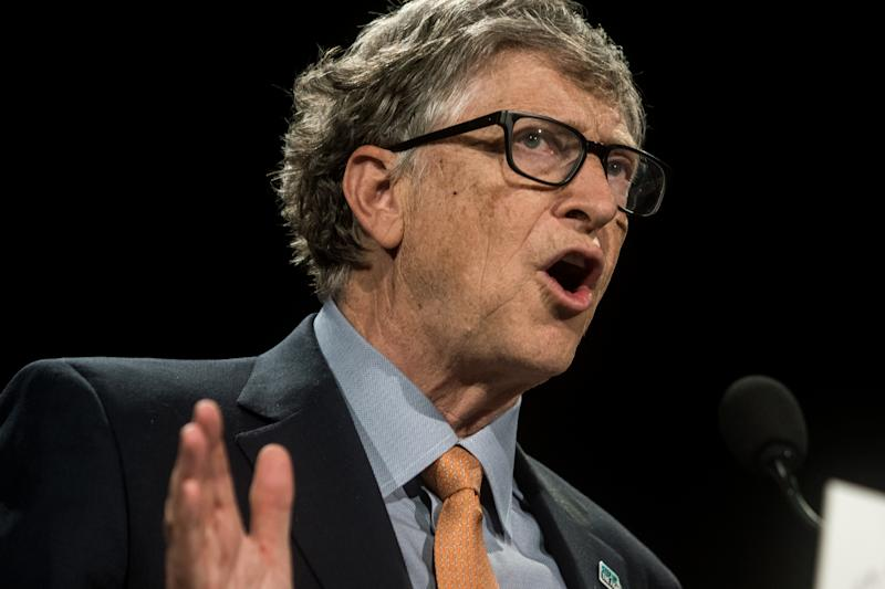 Bill Gates delivers a speech at the fundraising day at the Sixth World Fund Conference in Lyon, France, on October 10, 2019. (Photo by Nicolas Liponne/NurPhoto via Getty Images)