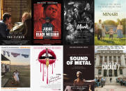 "This combination photo shows poster art for best picture Oscar nominees, top row from left, ""The Father,"" ""Judas and the Black Messiah,"" ""Mank,"" ""Minari,"" bottom row from left, ""Nomadland,"" ""Promising Young Woman,"" Sound of Metal,"" and The Trial of the Chicago 7."" (Sony Pictures Classics/Warner Bros. Pictures, Netflix, A24, Searchlight Pictures, Focus Features, Amazon Studios, Netflix via AP)"