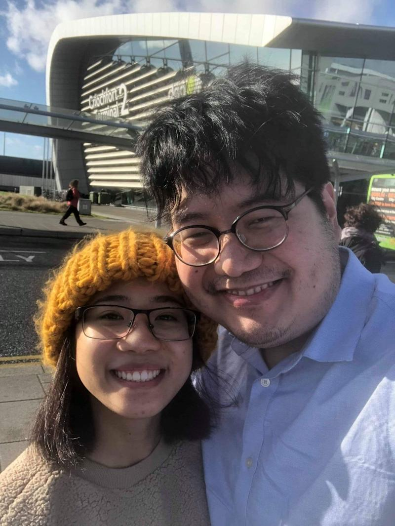 David Edward-Ooi Poon, co-founder of Advocacy for Family Reunification at the Canadian Border, says good bye to his girlfriend, Alexendria Aquino, at the Dublin airport in February 2019.