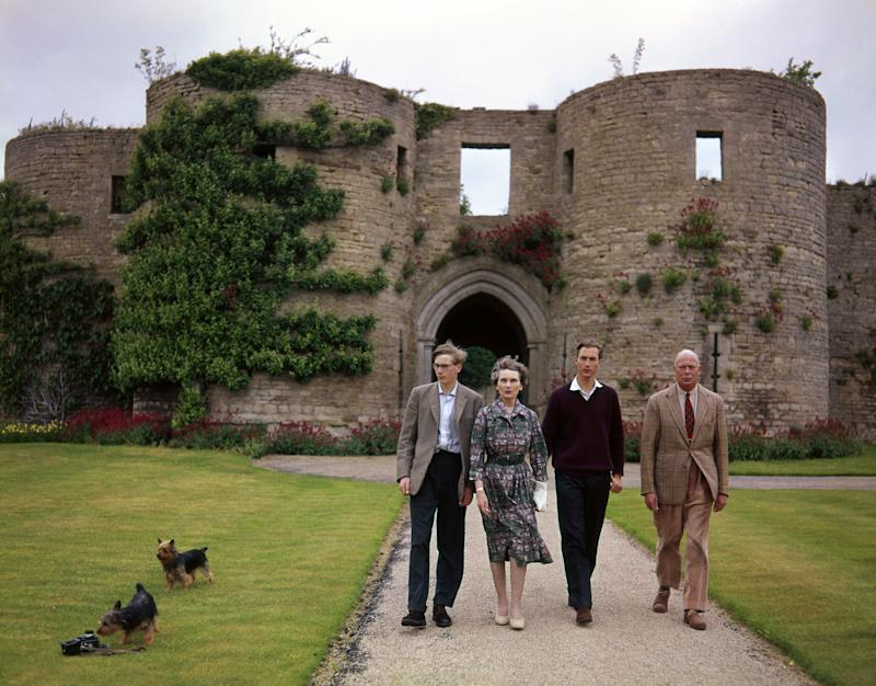 Prince William of Gloucester walks between his parents the Duke and Duchess of Gloucester in the grounds of the family home near Peterborough. With them is Prince Richard (Photo by PA Images via Getty Images)