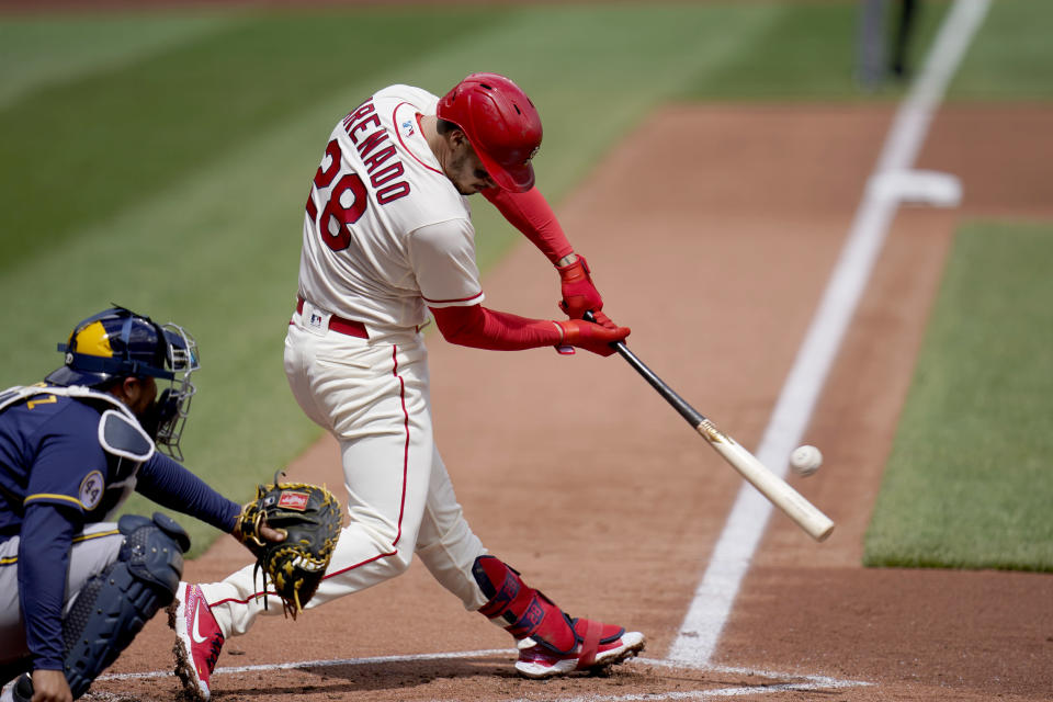 St. Louis Cardinals' Nolan Arenado doubles down the line during the first inning of a baseball game against the Milwaukee Brewers Saturday, April 10, 2021, in St. Louis. (AP Photo/Jeff Roberson)