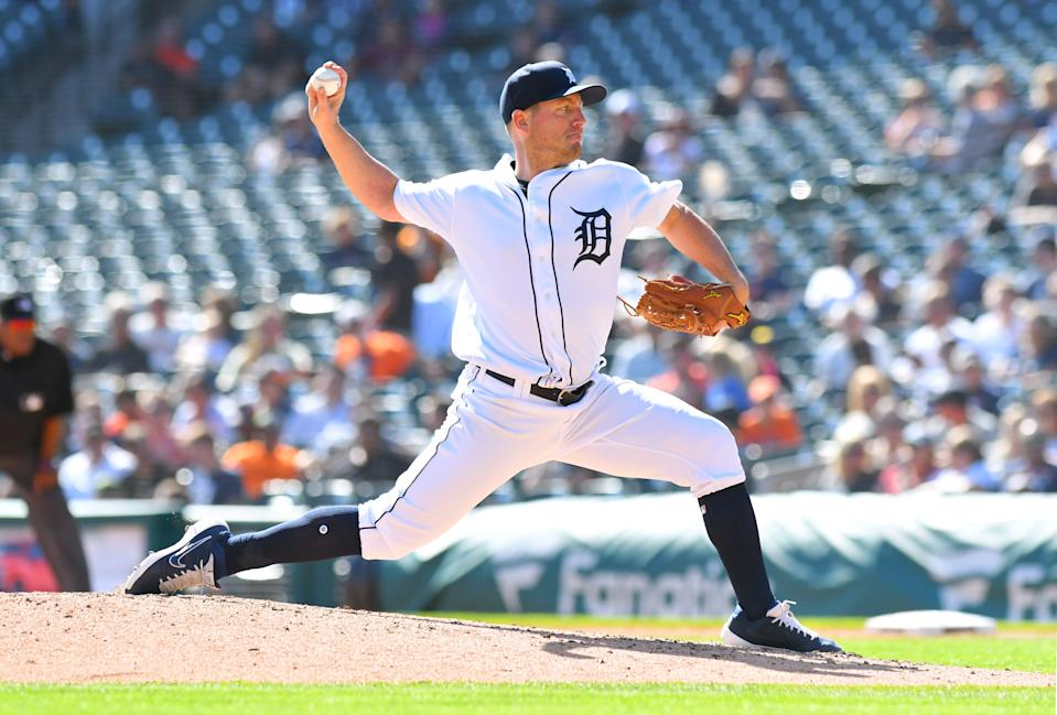 DETROIT, MI - SEPTEMBER 26:  Jordan Zimmermann #27 of the Detroit Tigers pitches during the game against the Minnesota Twins at Comerica Park on September 26, 2019 in Detroit, Michigan. The Twins defeated the Tigers 10-4.  (Photo by Mark Cunningham/MLB Photos via Getty Images)