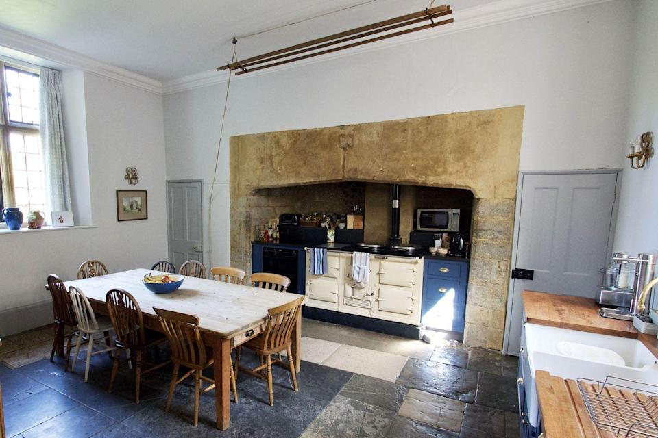 """<p>""""The truth is that I spend most of my time in the kitchen at Mapperton because the 1950s Aga keeps it so warm. It was the first room we redecorated when we moved in four years ago, and I'm particularly fond of the colours and texture of the original flagstone floor.""""</p>"""