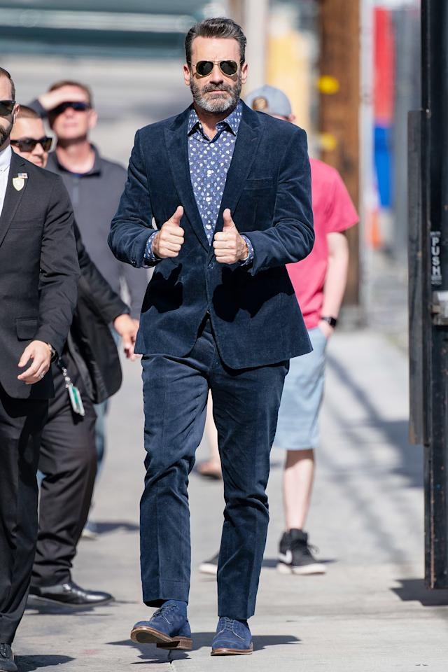 Jon Hamm gives two thumbs up to photographers as he arrives at<em>Jimmy Kimmel Live!</em>to talk about his role in Amazon's new mini-series<em>Good Omens</em>on Monday in L.A.