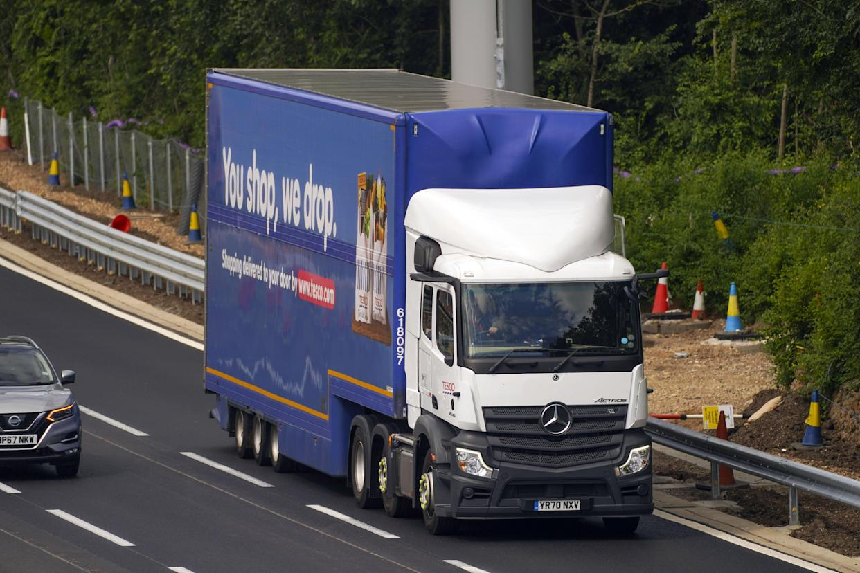 An HGV lorry on the M4 motorway near Datchet, Berkshire. The Government has announced a temporary extension to lorry drivers' hours from Monday July 12th, amid a shortage of workers. Picture date: Thursday July 8, 2021.
