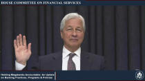 This image from video provided by the House Financial Services Committee shows JPMorgan Chase CEO Jamie Dimon being sworn in to testify virtually to the House Financial Services Committee Thursday, May 27, 2021. (House Financial Services Committee via AP)
