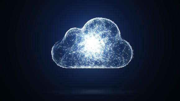 A cloud with small lights inside of it, concentrating as a large ball of light in the center of the cloud.