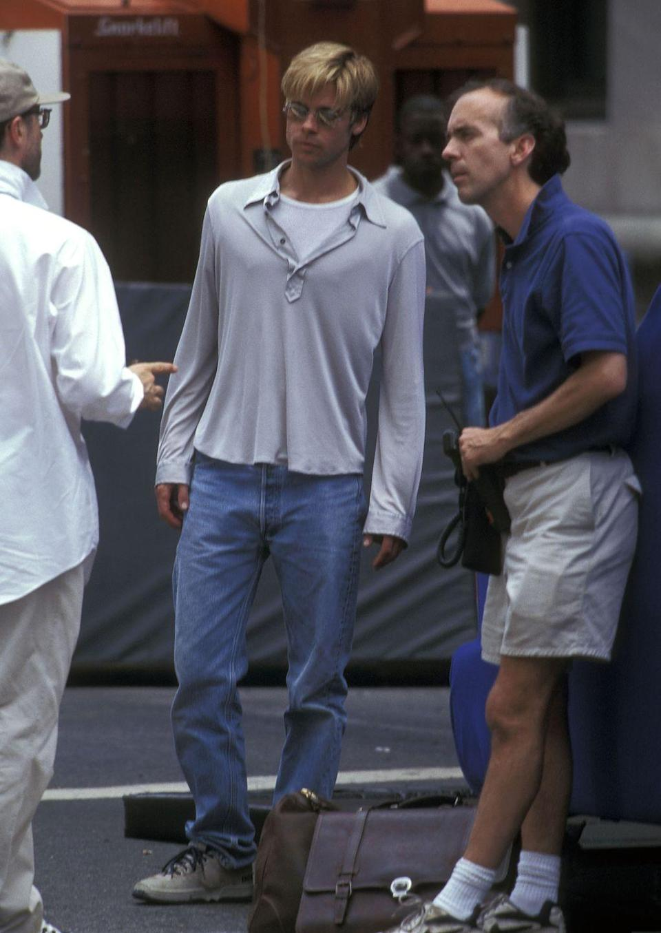 <p>While filming <em>Meet Joe Black </em>in New York City, Pitt is seen going over one of the movie's stunts during rehearsal. </p>